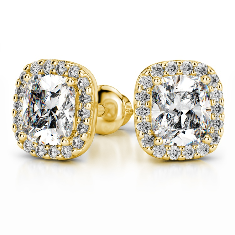 Halo Cushion Diamond Earring Settings in Yellow Gold | 04