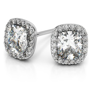 Halo Cushion Diamond Earrings in White Gold (1 ctw)