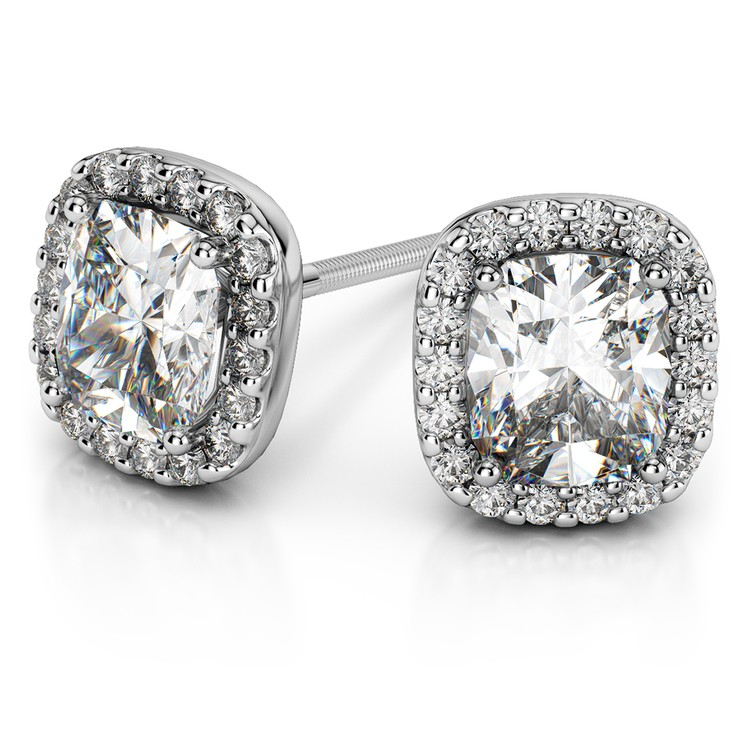 Halo Cushion Diamond Earrings in White Gold (1 ctw) | 01