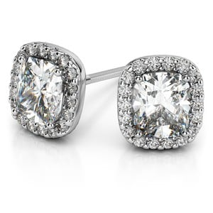 Halo Cushion Diamond Earrings in White Gold (2 ctw)