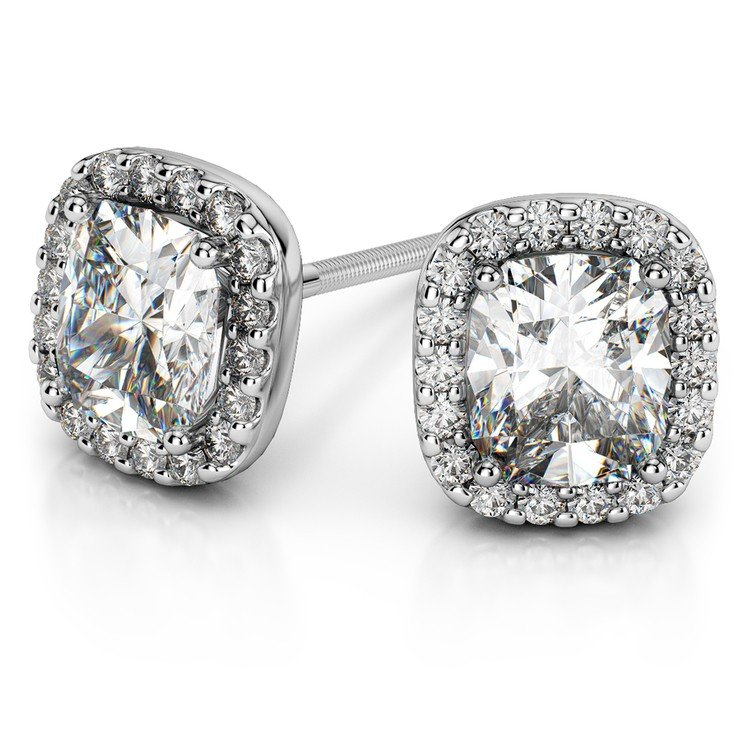 Halo Cushion Diamond Earrings in White Gold (2 ctw) | 01