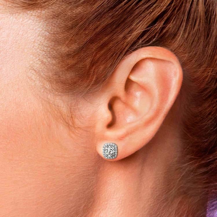 Halo Cushion Diamond Earrings in White Gold (2 ctw) | 04