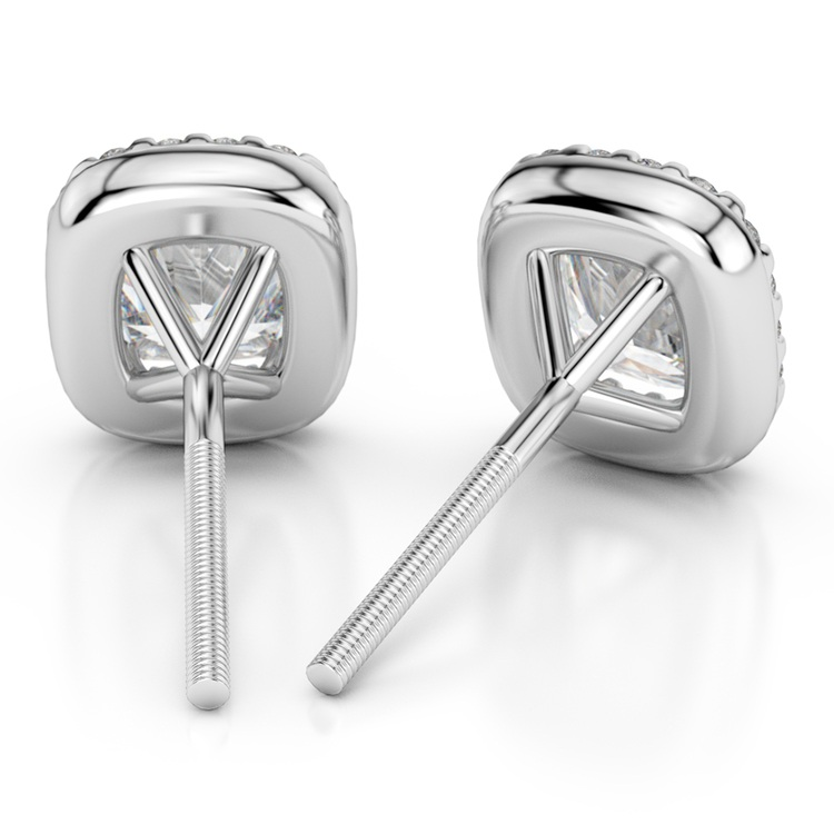 Halo Cushion Diamond Earrings in White Gold (3/4 ctw) | 02