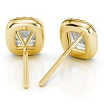 Halo Cushion Diamond Earrings in Yellow Gold (1 1/2 ctw) | Thumbnail 01