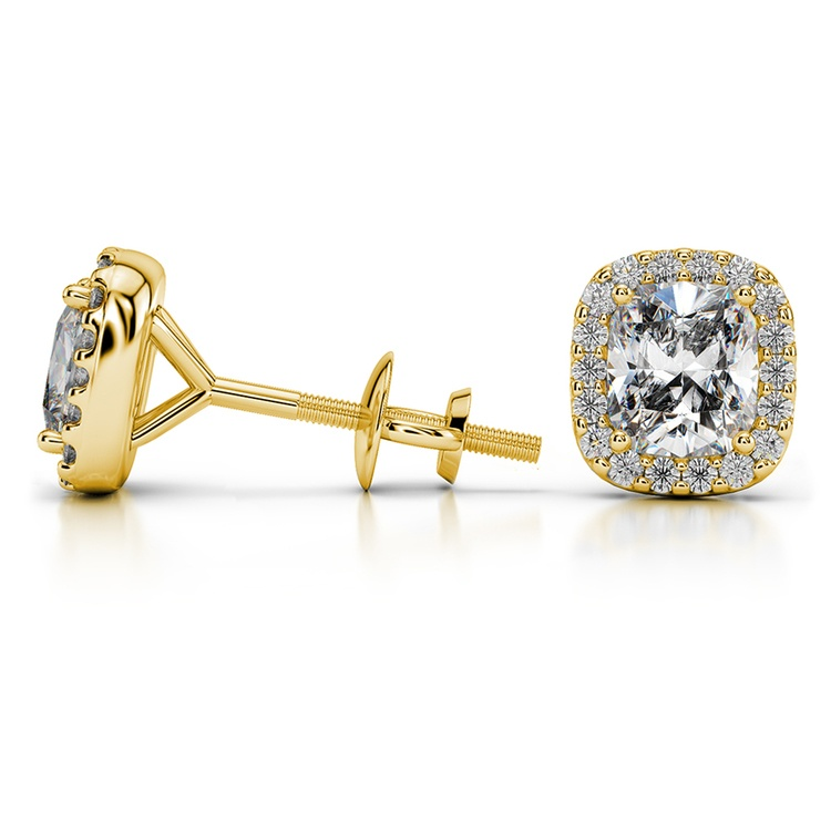Halo Cushion Diamond Earrings in Yellow Gold (1 1/2 ctw) | 03