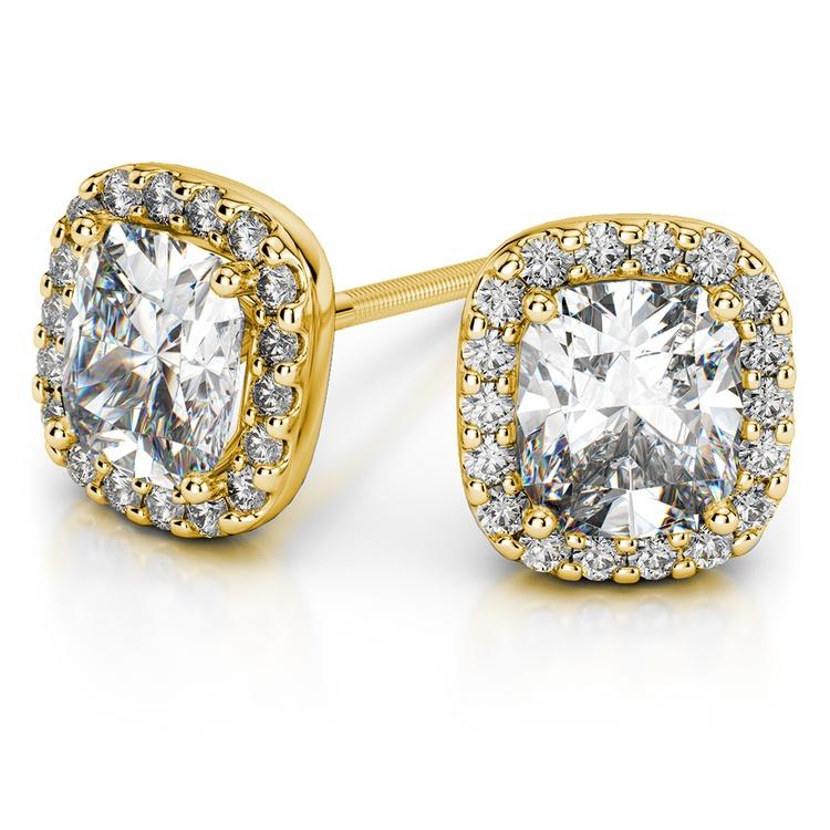 Halo Cushion Diamond Earrings in Yellow Gold (1 ctw) | 01