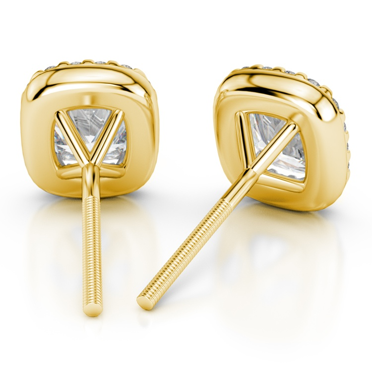 Halo Cushion Diamond Earrings in Yellow Gold (1 ctw) | 02