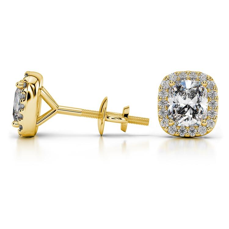 Halo Cushion Diamond Earrings in Yellow Gold (1 ctw) | 03