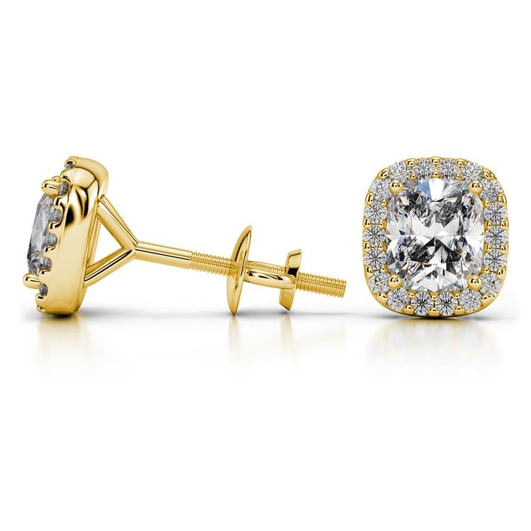 Halo Cushion Diamond Earrings in Yellow Gold (2 ctw) | 03