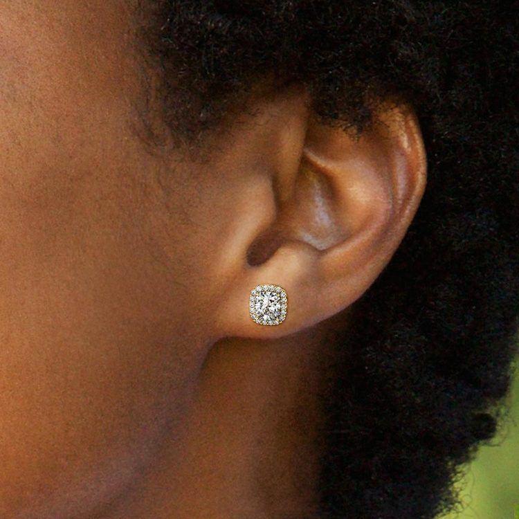 Halo Cushion Diamond Earrings in Yellow Gold (2 ctw) | 04