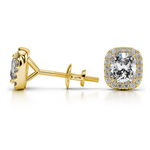 Halo Cushion Diamond Earrings in Yellow Gold (3/4 ctw) | Thumbnail 01
