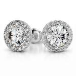 Halo Diamond Earring Settings in Platinum | Thumbnail 01