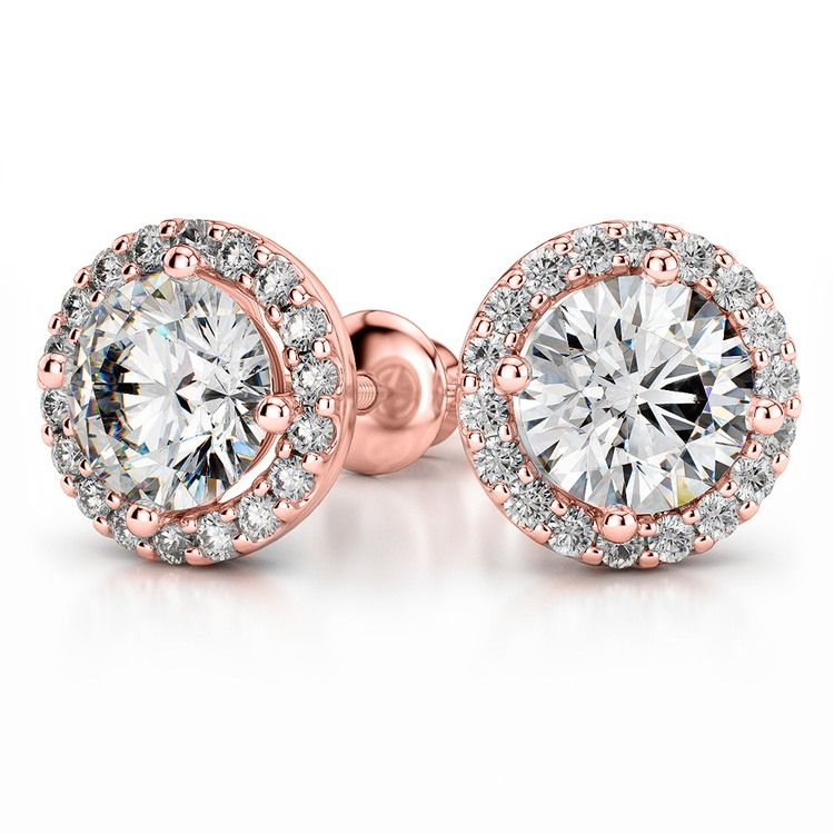 Halo Diamond Earring Settings in Rose Gold | 04