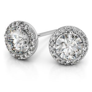 Halo Diamond Earring Settings in White Gold