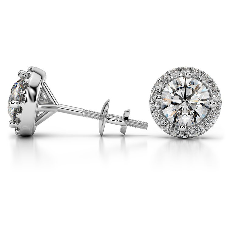 Halo Diamond Earring Settings in White Gold | 03
