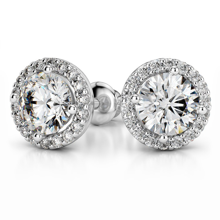 Halo Diamond Earring Settings in White Gold | 04