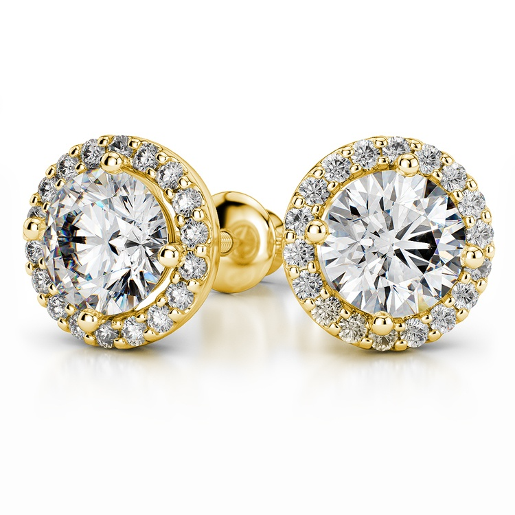 Halo Diamond Earring Settings in Yellow Gold | 04