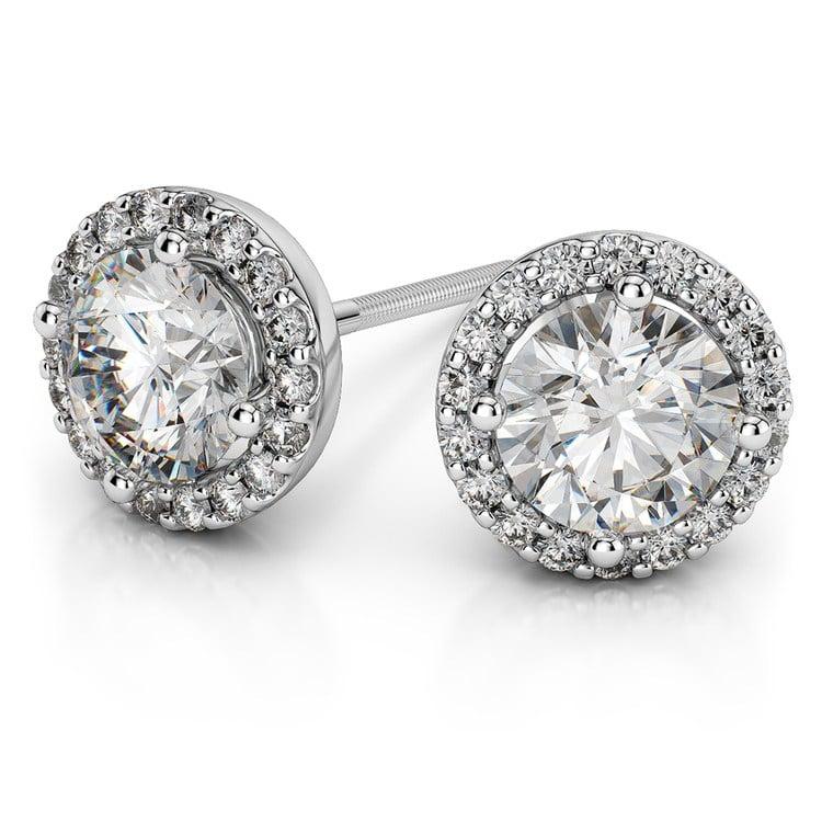 Halo Diamond Earrings in Platinum (1 1/2 ctw) | 01