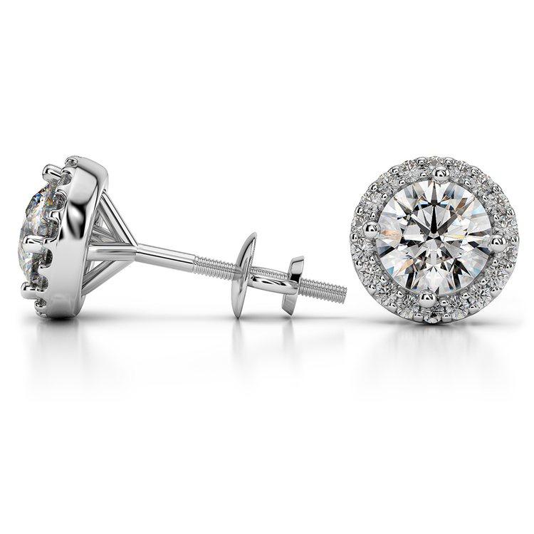 Halo Diamond Earrings in Platinum (1 1/2 ctw) | 03