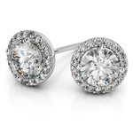 Halo Diamond Earrings in Platinum (1 ctw) | Thumbnail 01