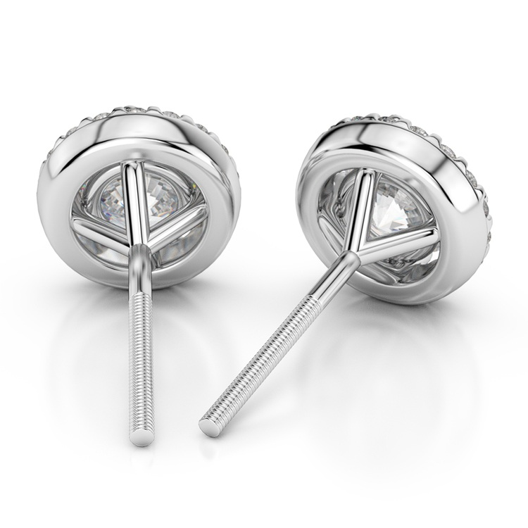 Halo Diamond Earrings in Platinum (1 ctw) | 02