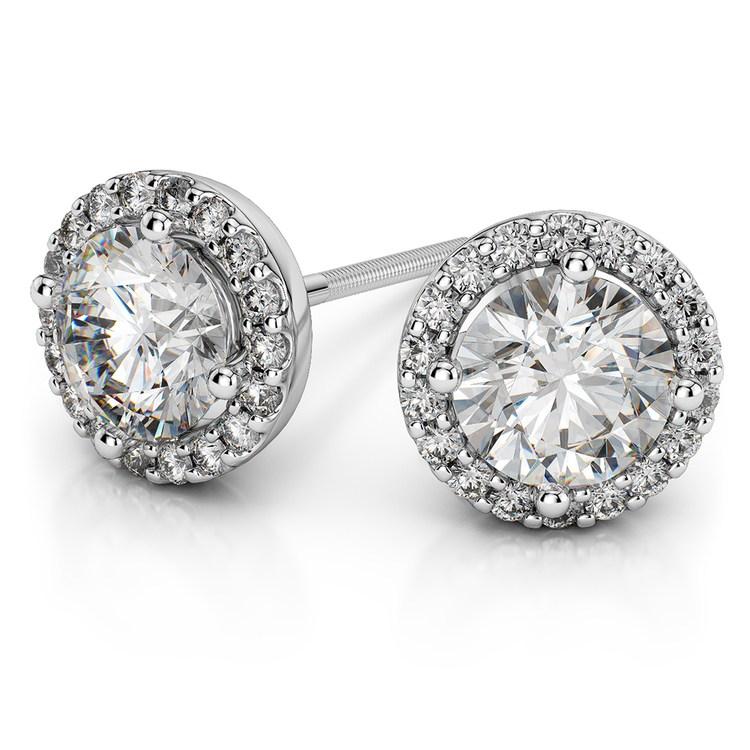 Halo Diamond Earrings in White Gold (1 1/2 ctw) | 01