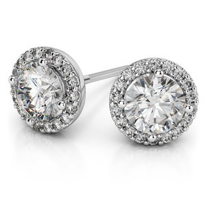 Halo Diamond Earrings in White Gold (1/2 ctw)
