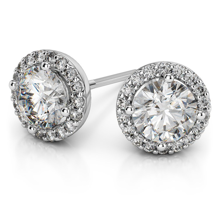Halo Diamond Earrings in White Gold (1 ctw) | 01