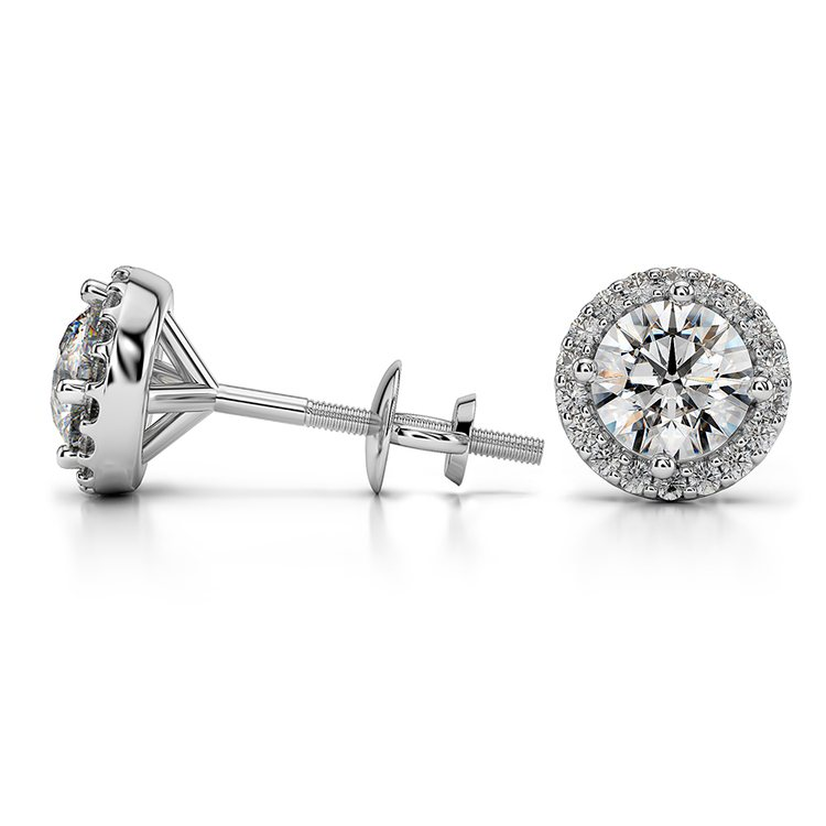 Halo Diamond Earrings in White Gold (1 ctw) | 03