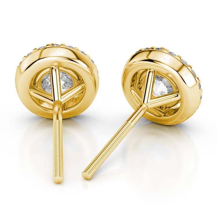 Halo Diamond Earrings in Yellow Gold (1 1/2 ctw) | 02