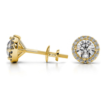 Halo Diamond Earrings in Yellow Gold (1/2 ctw) | Thumbnail 01