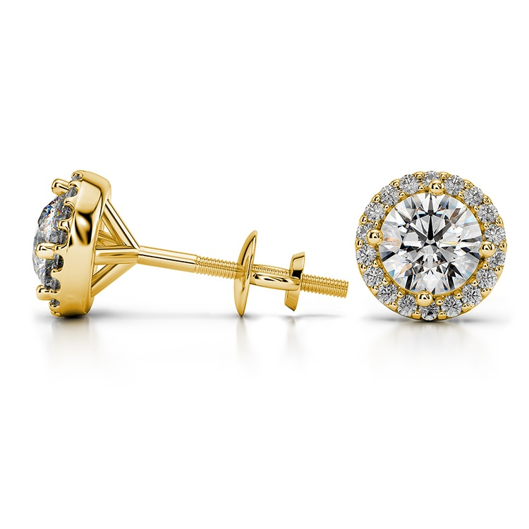 Halo Diamond Earrings in Yellow Gold (1 ctw) | 03
