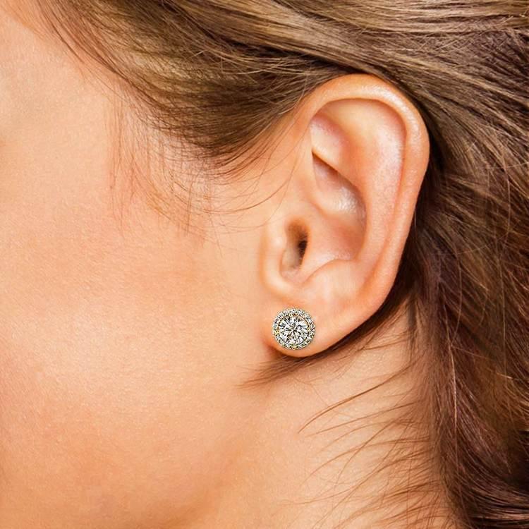 Halo Diamond Earrings in Yellow Gold (1 ctw)   04
