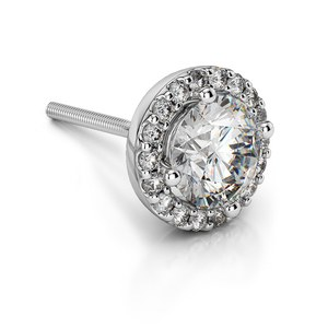 Halo Diamond Single Stud Earring In White Gold (1/4 Ctw)