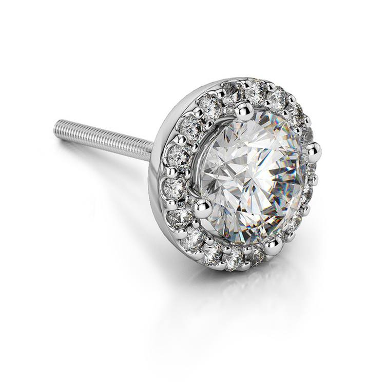 Halo Diamond Single Stud Earring In White Gold (3/4 Ctw) | 01