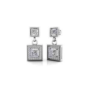 Milgrain Halo Princess Diamond Earrings in White Gold