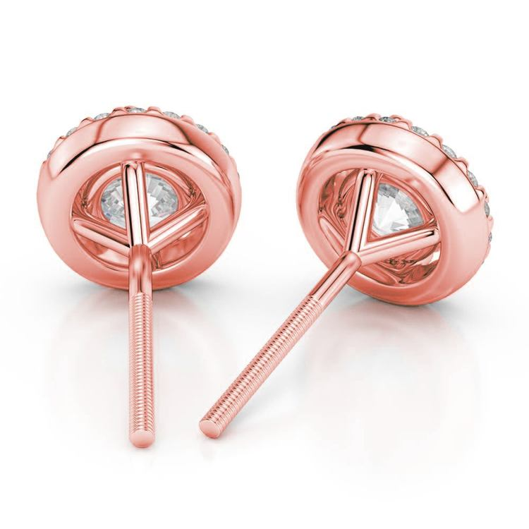 Halo Rose Gold Halo Moissanite Stud Earrings (7.5mm) | 02