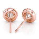 Halo Rose Gold Halo Moissanite Stud Earrings (8.5mm) | Thumbnail 01