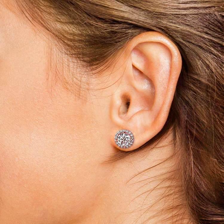 Halo Rose Gold Halo Moissanite Stud Earrings (8.5mm) | 04