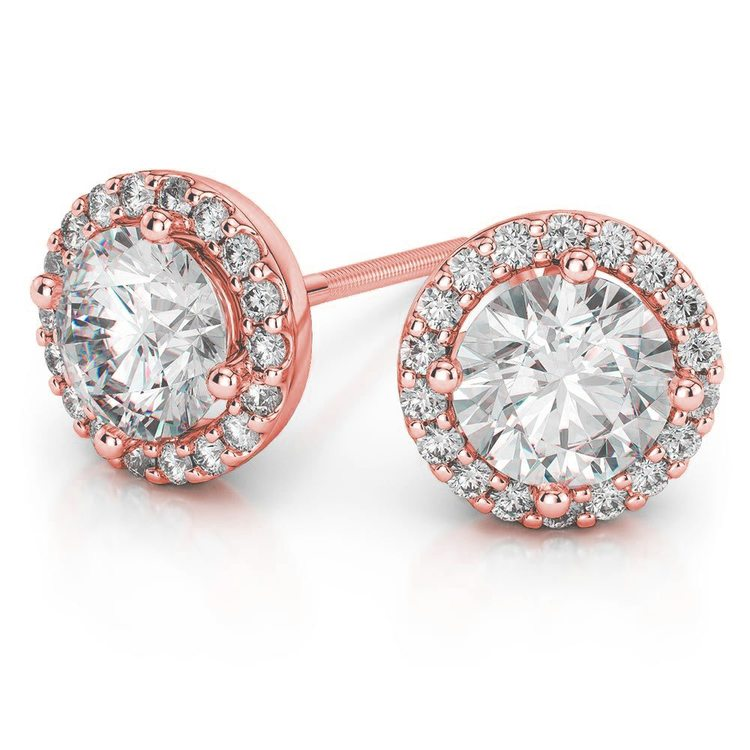 Halo Rose Gold Halo Moissanite Stud Earrings (8.5mm) | Zoom
