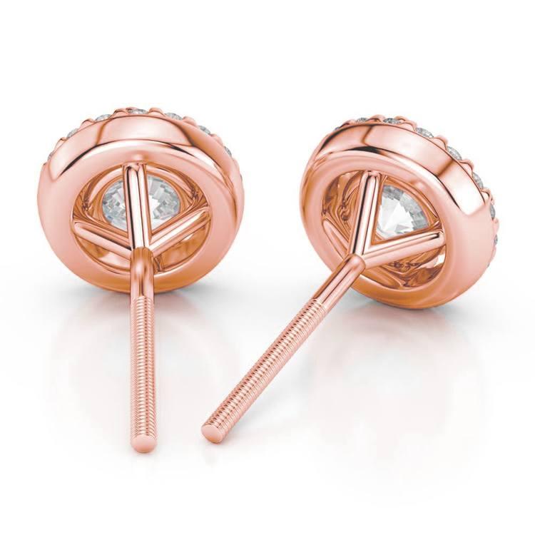 Halo Rose Gold Halo Moissanite Stud Earrings (8.5mm) | 02