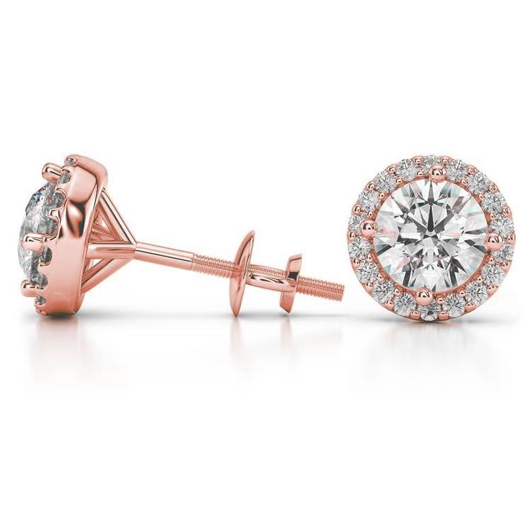 Halo Rose Gold Halo Moissanite Stud Earrings (8.5mm) | 03