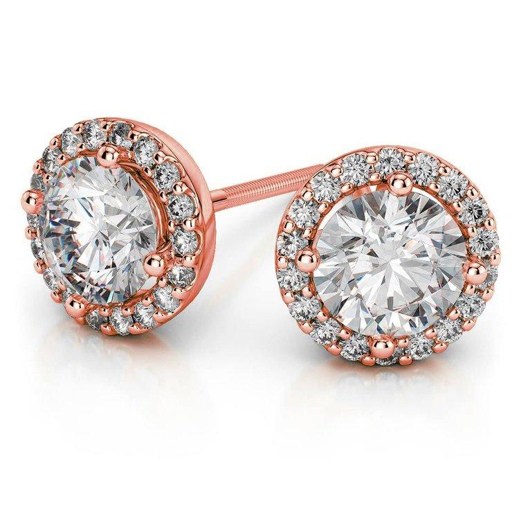 Halo Rose Gold Moissanite Earrings (7 mm) | 01