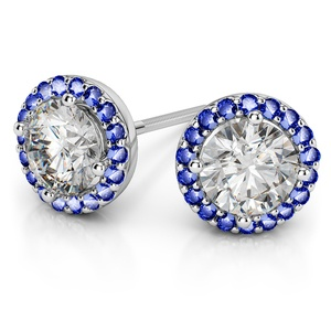 Halo Sapphire Earring Settings in White Gold