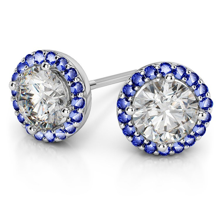 Halo Sapphire Earring Settings in White Gold | 01
