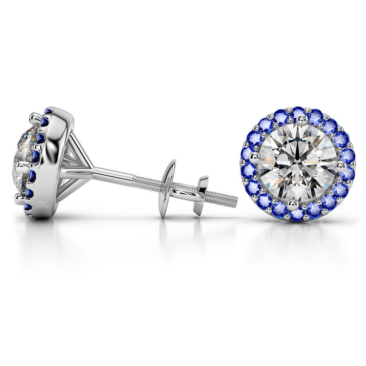 Halo Sapphire Earring Settings in White Gold | 03