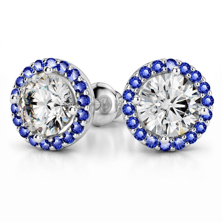 Halo Sapphire Earring Settings in White Gold | 04
