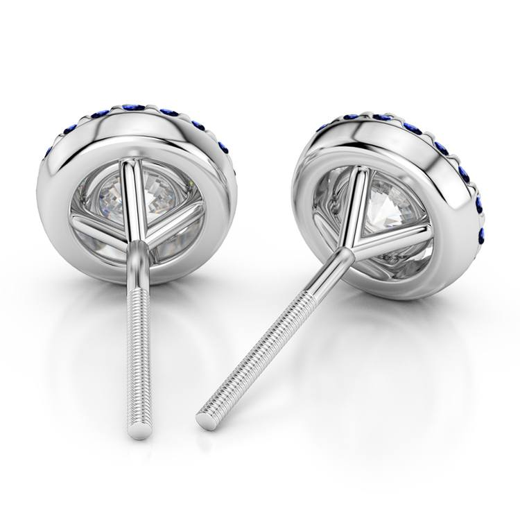 Halo Sapphire Earring Settings in White Gold | 02