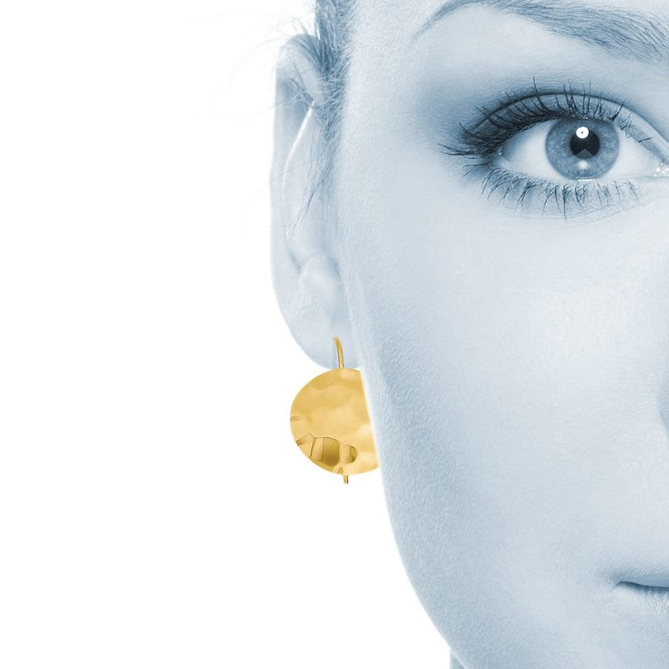 Hammered Round Disc Earrings in Yellow Gold (14mm) | 03