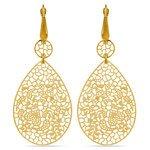 Heart & Leaf Filigree Dangle Earrings in Yellow Gold | Thumbnail 01
